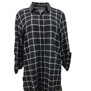 ZARA Women Button Down Checked Maxi Shirt / Dress,